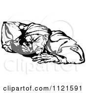 Clipart Of Retro Vintage Black And White Scrooge Sleeping Royalty Free Vector Illustration