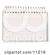 Blank Lined Index Note Card In A Spiral Book Clipart Illustration by Leo Blanchette