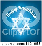 Happy Hanukkah Text Over A Sparkly Blue Star Of David