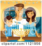 Happy Jewish Family Lighting Their Hanukkah Menorah Candles