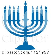 Clipart Of A Silhouetted Blue Hanukkah Menorah With Lit Candles Royalty Free Vector Illustration