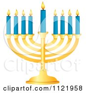Clipart Of A Golden Hanukkah Menorah With Blue Candles Royalty Free Vector Illustration
