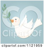 Cute Dove Flying With An Olive Branch On Blue