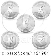Clipart Of 3d Silver Currency Coins Royalty Free Vector Illustration