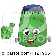 Cartoon Of A Halloween Frankenstein Emoticon Holding A Thumb Up Royalty Free Vector Clipart by yayayoyo