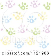 Cartoon Of A Seamless Pastel Hand Print Background Pattern Royalty Free Vector Clipart by yayayoyo