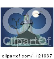 Cartoon Of A Haunted House On Top Of A Hill Royalty Free Vector Clipart