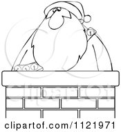 Outlined Santa In A Chimney