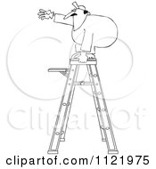 Cartoon Of An Outlined Worker Standing Unsteady On A Ladder Royalty Free Vector Clipart by djart