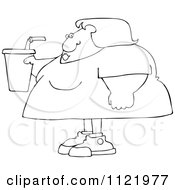 Cartoon Of An Outlined Obese Woman Holding A Fountain Soda Royalty Free Vector Clipart by djart