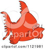 Cartoon Of A Grumpy Orange Fish Royalty Free Vector Clipart