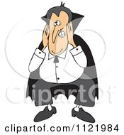 Cartoon Of A Halloween Vampire Covering His Ears Royalty Free Vector Clipart