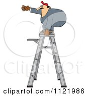 Cartoon Of A Worker Standing Unsteady On A Ladder Royalty Free Vector Clipart