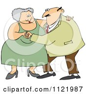 Cartoon Of A Chubby Old Couple Dancing Royalty Free Vector Clipart by djart