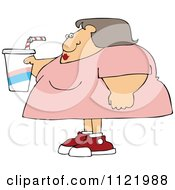 Cartoon Of An Obese Woman Holding A Fountain Soda Royalty Free Vector Clipart by djart