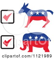 Clipart Of Retro Voting Check Boxes With Republican Elephant And Democratic Donkey Royalty Free Vector Illustration