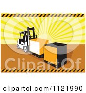 Clipart Of A Retro Forklift Moving Crates Over Sun Rays Royalty Free Vector Illustration by patrimonio
