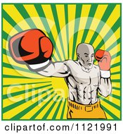 Clipart Of A Retro Boxer Jab Punching Over Rays Royalty Free Vector Illustration