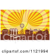 Clipart Of A Retro Woodcut Farm With A Windmill House Barn And Silos At Sunrise Royalty Free Vector Illustration