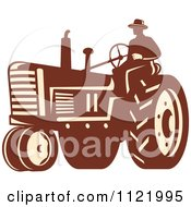 Clipart Of A Retro Farmer On A Tractor Royalty Free Vector Illustration