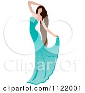 Graceful Brunette Woman Dancing In A Turquoise Gown