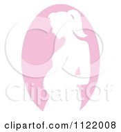Clipart Of A Pink Pregnant Mother Silhouette Cameo Royalty Free Vector Illustration