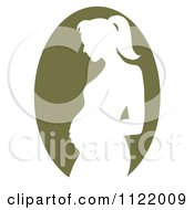 Clipart Of A Green Pregnant Mother Silhouette Cameo Royalty Free Vector Illustration