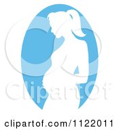 Clipart Of A Blue Pregnant Mother Silhouette Cameo Royalty Free Vector Illustration