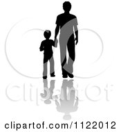 Clipart Of A  Silhouetted Father And Son Holding Hands With Shadows Royalty Free Vector Illustration