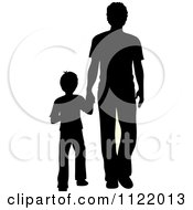 Clipart Of A Silhouetted Father And Son Holding Hands Royalty Free Vector Illustration