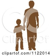 Clipart Of A Brown Silhouetted Father And Son Holding Hands Royalty Free Vector Illustration by Pams Clipart