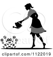 Clipart Of A Silhouetted Woman Watering A Flower Garden Royalty Free Vector Illustration
