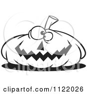 Cartoon Of An Outlined Nearly Flat Jackolantern Halloween Pumpkin Royalty Free Vector Clipart by toonaday