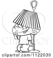 Cartoon Of An Outlined Boy Hiding Under A Lamp Shade Royalty Free Vector Clipart