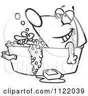 Cartoon Of An Outlined Relaxed Dog Bathing In A Tub With A Rubber Duck Royalty Free Vector Clipart