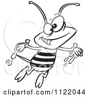 Cartoon Of An Outlined Happy Bee With Honey On His Hands Royalty Free Vector Clipart