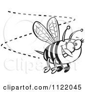 Cartoon Of A Black And White Happy Bee Buzzing Around Royalty Free Vector Clipart