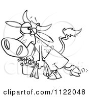 Cartoon Of An Outlined Depressed Cow Leaving The Beach Royalty Free Vector Clipart by toonaday