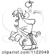 Cartoon Of An Outlined Apple Hitting A Doctor In The Head Royalty Free Vector Clipart