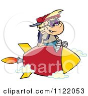Cartoon Of A School Boy Riding On A Rocket Royalty Free Vector Clipart