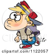 Cartoon Of A School Boy Walking Royalty Free Vector Clipart