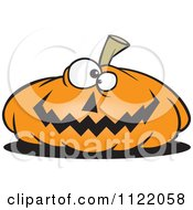 Cartoon Of A Nearly Flat Jackolantern Halloween Pumpkin Royalty Free Vector Clipart