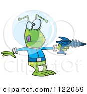 Cartoon Of An Alien Invader Pointing A Ray Gun Royalty Free Vector Clipart by toonaday