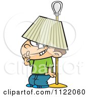 Cartoon Of A Boy Hiding Under A Lamp Shade Royalty Free Vector Clipart by toonaday
