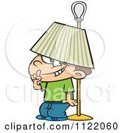 Cartoon Of A Boy Hiding Under A Lamp Shade Royalty Free Vector Clipart