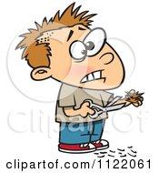 Cartoon Of A Boy Cutting His Own Hair Royalty Free Vector Clipart by Ron Leishman