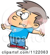 Cartoon Of A Boy Tangled In Bubble Gum Royalty Free Vector Clipart