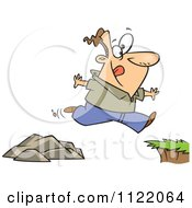 Cartoon Of A Man Jumping To A Greener Side Royalty Free Vector Clipart