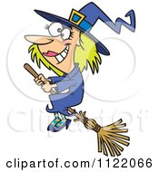 Cartoon Of A Happy Halloween Good Witch Flying On A Broom Royalty Free Vector Clipart