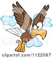 Cartoon Of A Bald Eagle Flying Royalty Free Vector Clipart